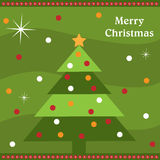 Christmas tree card. Illustration of a cute greeting card for Christmas with decorated Christmas tree.EPS file available Royalty Free Stock Image