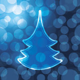 Christmas tree card. Christmas Card with fir and bubbles Stock Image