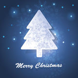Christmas tree card. Christmas Card with fir and snowflakes Royalty Free Stock Photo