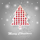 Christmas tree card. Christmas Card with fir and stars Royalty Free Stock Photography