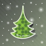 Christmas tree card. Christmas Card with fir and stars Stock Photo