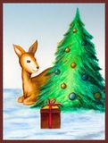Christmas tree card. A small deer finding a gift under a christmas tree. Hand drawn illustration. This is my work Stock Photos
