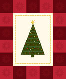 Christmas tree card. Christmas tree framed by red checkered snowflake border Stock Image