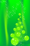 Christmas tree card. Christmas card with tree and green balls on green background Royalty Free Stock Images