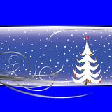 Christmas tree card on blue background Stock Image
