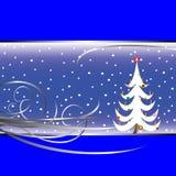 Christmas tree card on blue background. Vector art illustration Stock Image