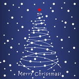 Christmas Tree card. Blue background. Merry Christmas white Tree card. Blue background Stock Image