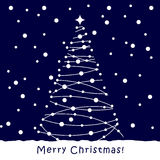 Christmas Tree card. Blue background. Merry Christmas white Tree card. Blue background Stock Photography