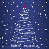 Christmas Tree card. Blue background. Merry Christmas white Tree card. Blue background Royalty Free Stock Image