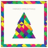Christmas tree card on colorful square pattern with shadow backg. Round, vector eps10 vector illustration