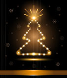Christmas tree card congratulations gold light glo Stock Photos