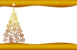 Christmas tree card gold stars and flowers. Christmas tree Illustration with stars and lines gold Stock Images