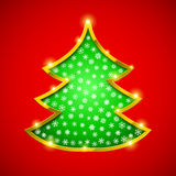 Christmas tree card with golden border Royalty Free Stock Photos