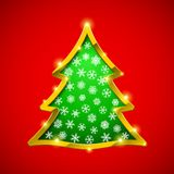 Christmas tree card with golden border. And showflakes Royalty Free Stock Photos