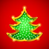 Christmas tree card with golden border. And snowflakes Royalty Free Stock Images