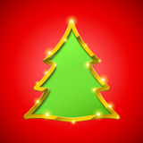 Christmas tree card with golden border Royalty Free Stock Photo