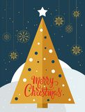 Christmas tree card with golden snowflakes globes - vector. Christmas tree card with golden snowflakes globes and the words Merry Christmas - vector. Eps file royalty free illustration