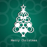 Christmas tree card illustration. Christmas tree card. Paper look like illustration Royalty Free Stock Images