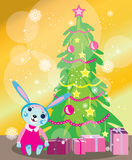 Christmas tree card with rabbit girl Royalty Free Stock Photos