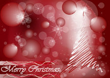 Christmas tree card in red colour. Christmas wishing card with red Christmas tree Stock Photo