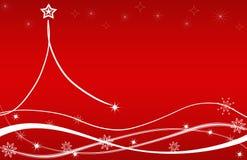Christmas Tree Card Red Stars Flowers Stock Photos