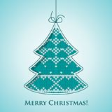 Christmas tree card. Christmas card scandinavian style. Flat vector cartoon illustration. Knitted pattern with fair isle ornament on light blue bckground with Royalty Free Stock Photography