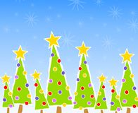Christmas Tree Card Scene Stock Photo