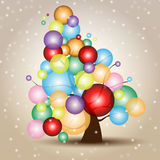 Christmas Tree Card with Snow and balls. Multicolored Merry Xmas card with the Tree Icon, and free copyspace Royalty Free Stock Photos
