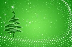 Christmas tree card with snow Stock Photo