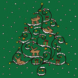 Christmas tree card. With various icons Royalty Free Stock Images
