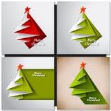 Christmas Tree Card. Vector Origami Stock Image