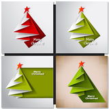 Christmas tree card. Vector origami Stock Image