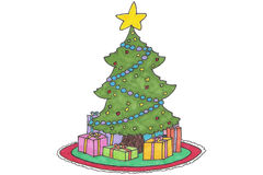 Christmas TRee cartoon. Hand Drawn cartoon Christmas tree and presents. Author: HOlly Doucette 2005 Stock Photo