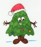 Christmas tree cartoon. Hand drawn cartoon Christmas tree Stock Photo