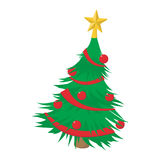 Christmas tree cartoon icon. Isolated on a white background Royalty Free Stock Photo