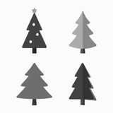 Christmas tree cartoon icons set. Black silhouette decoration trees signs, isolated on white background. Flat design. Symbol of holiday, winter, Christmas Stock Photo
