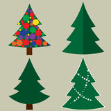 Christmas tree cartoon icons set. Green silhouette decoration trees signs. Set of Christmas trees with and without ornaments. Modern flat vector illustration Royalty Free Stock Photo