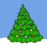 Christmas tree cartoon illustration Stock Images