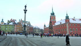 Christmas tree at Castle Square in Warsaw, Poland stock video footage