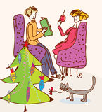 Christmas tree for cat. Funny cartoon Royalty Free Stock Images