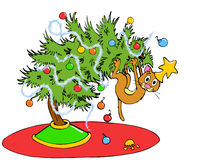 Christmas Tree Cat Royalty Free Stock Images