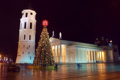 Christmas tree by Cathedral Basilica in Vilnius Stock Photo