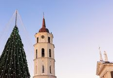 Christmas tree and Cathedral bell tower Lithuania Vilnius During Advent Royalty Free Stock Image