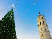 Christmas tree and Cathedral bell tower Vilnius Advent evening Royalty Free Stock Photography