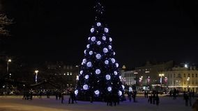 Christmas tree on Cathedral Square, Vilnius stock video