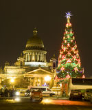 Christmas tree and cathedral of St. Isaac Stock Image