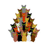 Christmas tree of cats. Spruce of pet. fir-tree from cat. New Ye Royalty Free Stock Images