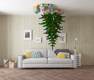 Christmas tree on the ceiling Royalty Free Stock Image