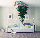 Christmas tree on the ceiling Royalty Free Stock Photos