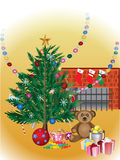 Christmas tree celebrate. Decorated christmas tree with many presents Royalty Free Stock Photo